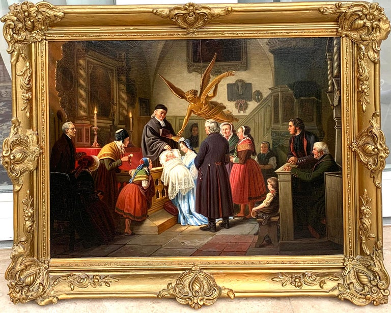 The Baptism by Ludwig August Most 1860 Oil on Canvas framed in gold wood frame For Sale 1