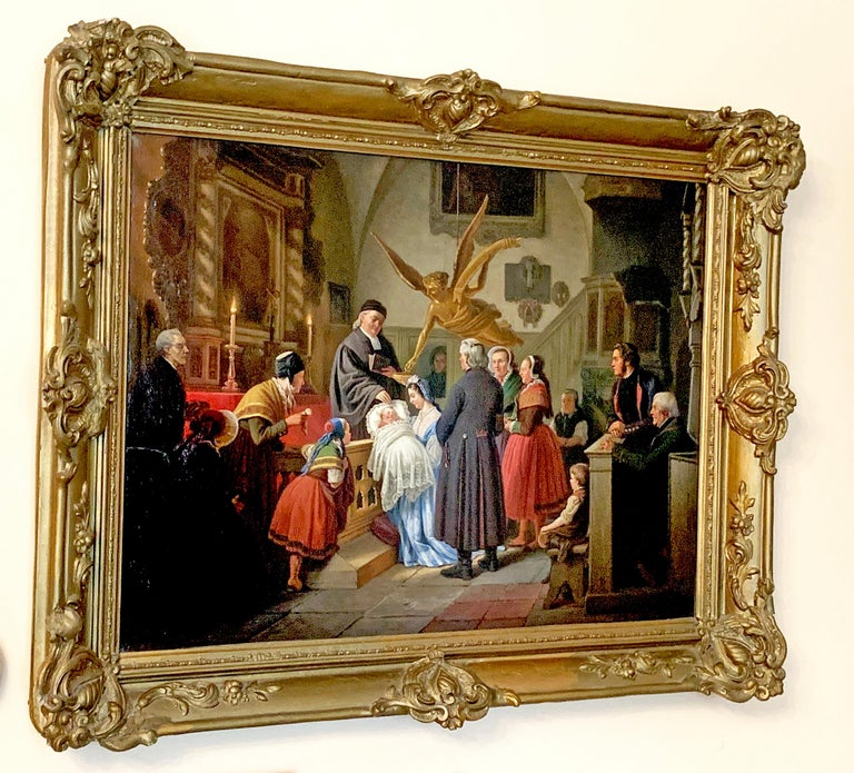 The Baptism by Ludwig August Most 1860 Oil on Canvas framed in gold wood frame For Sale 2