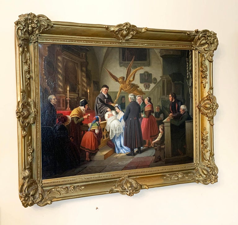The Baptism by Ludwig August Most 1860 Oil on Canvas framed in gold wood frame For Sale 7