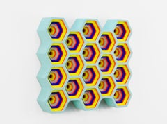 Combs by Daniel Engelberg - Colorful Contemporary wall sculpture