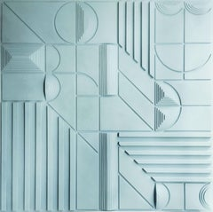 Paul Bik - Composition Light Blue - Contemporary Abstract geometric Painting