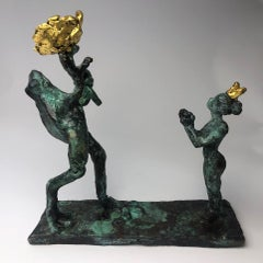 Frog Proposal by Helle Crawford, Bronze sculpture of a horse carrying a woman