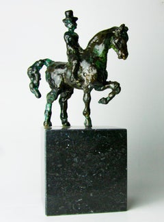Small Equipage by Helle Crawford, Bronze sculpture of a horse carrying a woman