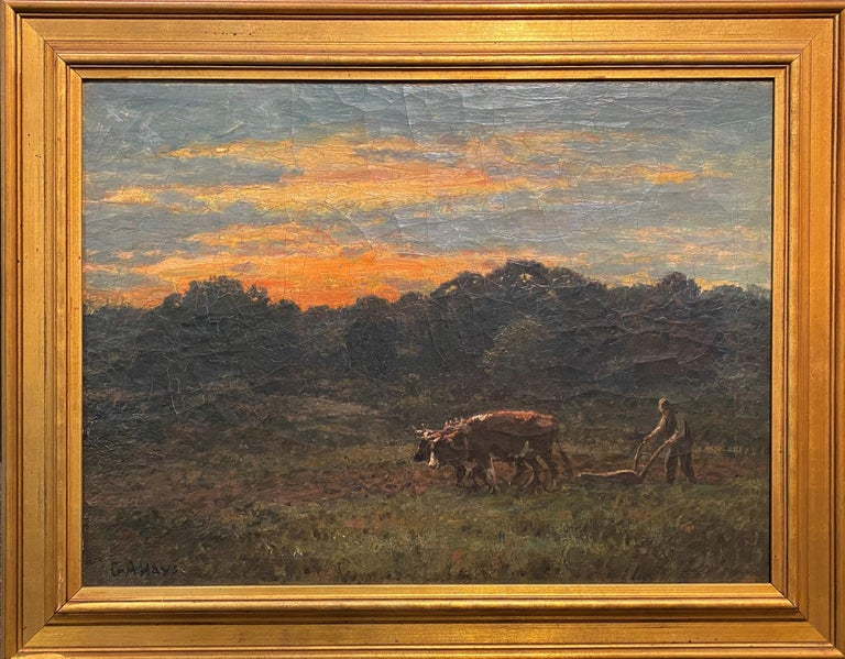 George Arthur Hays Animal Painting - Ploughin at Dusk