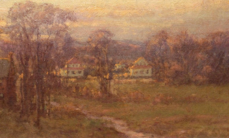 This tonalist landscape oil painting was done by New York artist Charles P. Appel (1857-1928). Appel was born in Brooklyn, New York and later lived in East Orange, New Jersey, influenced by George Inness and studying under William Merritt Chase and