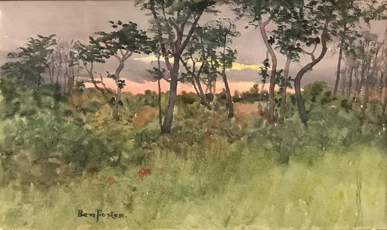 New England Sunset Landscape - Painting by Benjamin Foster