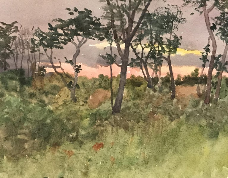 New England Sunset Landscape - American Impressionist Painting by Benjamin Foster