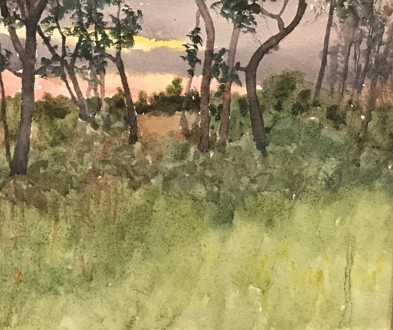 New England Sunset Landscape - Brown Landscape Painting by Benjamin Foster