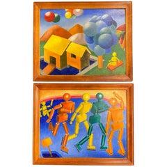 Cubist Figures / Cubist Landscape with Balloons