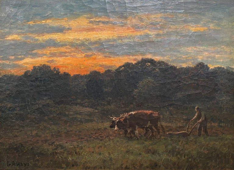 Ploughin at Dusk - Painting by George Arthur Hays