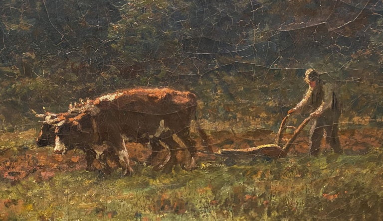 Ploughin at Dusk - Brown Animal Painting by George Arthur Hays