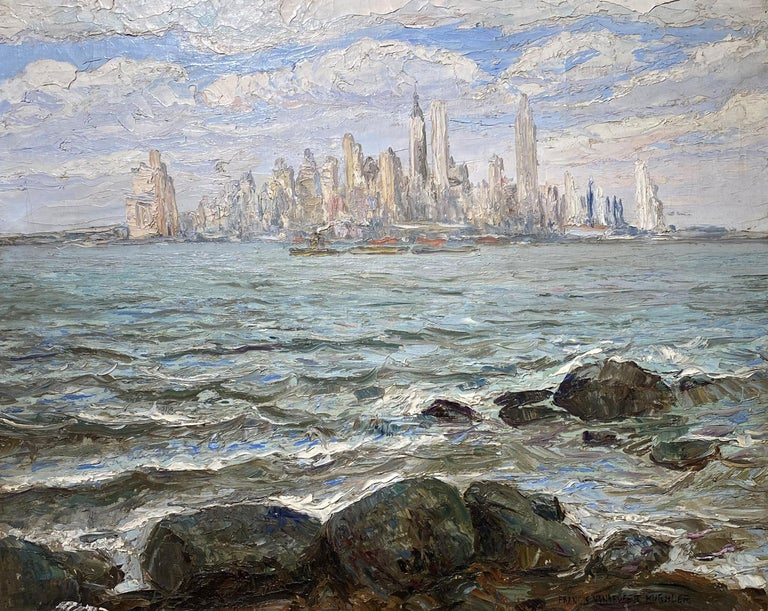 View of New York City - Painting by Francis Vandeveer Kughler