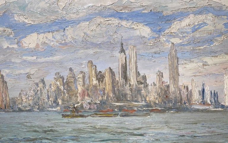 View of New York City - American Impressionist Painting by Francis Vandeveer Kughler