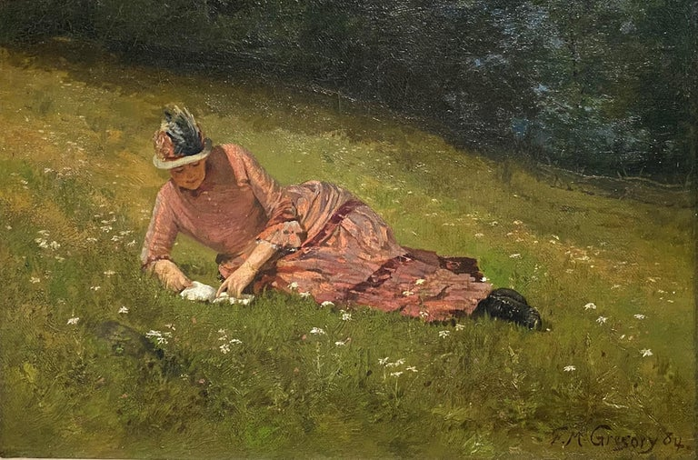 Girl in a Pink Dress - Painting by Francis