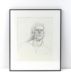 Untitled (Black-and-White Graphite Portrait of a Man Looking into the Distance)