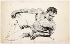 Athletic Nude Model in Repose