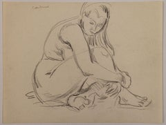 Seated Nude Woman Holding Her Leg
