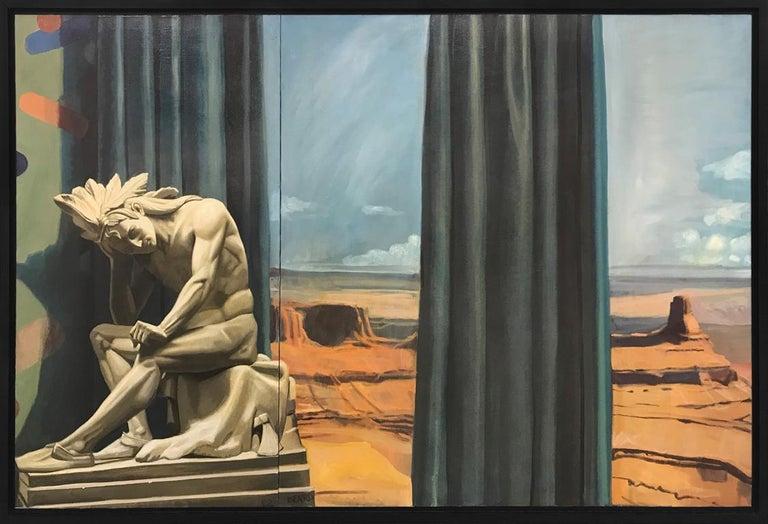 Mark Beard Figurative Art - Western Panorama with Sculpture of Native American Warrior