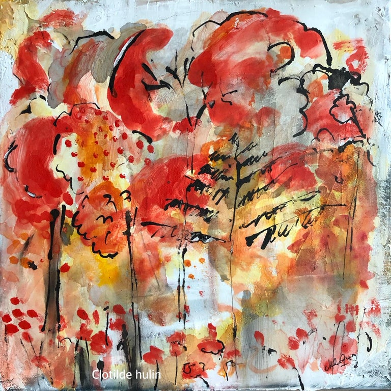 "Clotilde Hulin Landscape Painting - ""The Red Forest"""