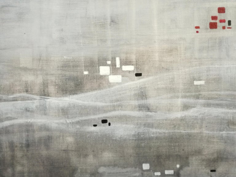 Rural Place  - Gray Abstract Painting by Katrin Waite