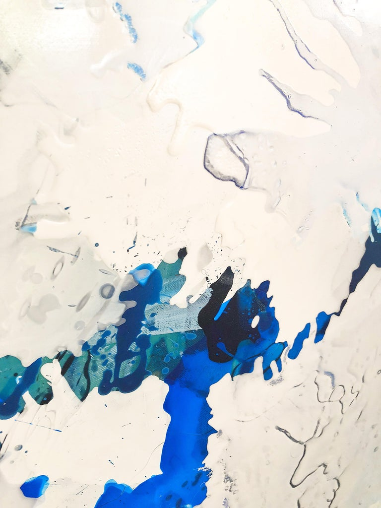 Electric Blue III - Original on Canvas - Abstract Painting by Barbara Coburn