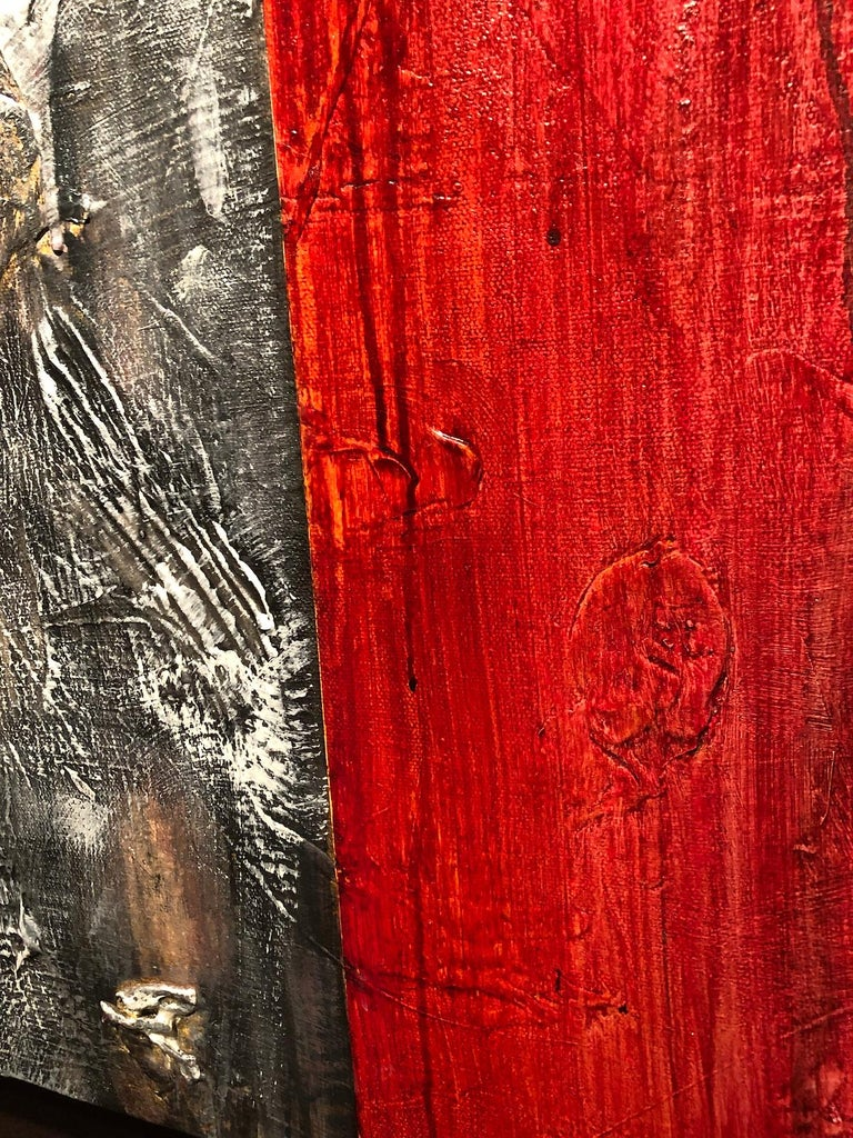 Diversity I - Mixed Media on Canvas - 60 x 48 in. - Brown Abstract Painting by Nancy Thayer