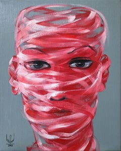 Self Portrait contemporary figurative 21st century red and white oil painting