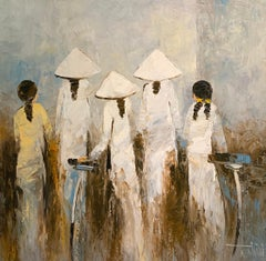 """""""School Girls"""" 21st Century contemporary white brown oil painting"""