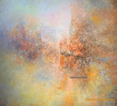 """""""Sunset"""" 21st Century contemporary abstract oil on canvas orange yellow painting"""