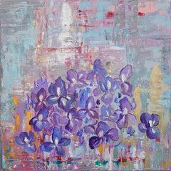 Irises by European Artist Maria Dermengiu Contemporary 21st Century Abstract Art
