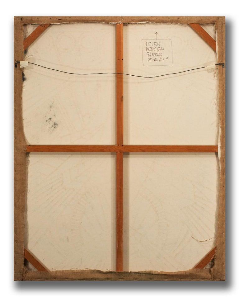 Original Abstract Large 5-Foot Oil Painting on Burlap by Helen Rebekah Garber For Sale 7