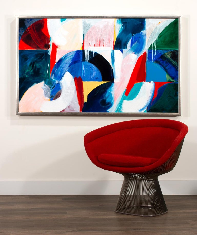 Large Original 5-Foot Framed Abstract Oil Painting on Canvas by Ann Thornycroft For Sale 3