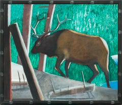 """Bull Elk"" Massive 6-Foot Framed Original Oil Painting on Canvas by David Bungay"