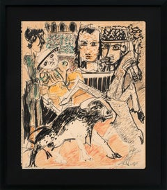 """La Corrida"" Framed Original Mixed Media Drawing on Paper by Bernard Lorjou"