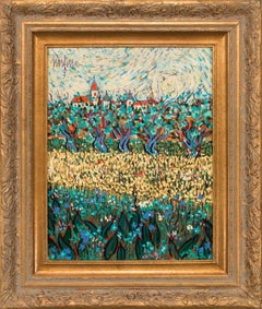 Framed Abstract Post-Impressionist Landscape Oil Painting by Jean Nerfin