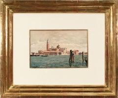 View of San Giorgio Maggiore (Venice) Impressionist Watercolor by Róbert Nádler