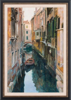 """Shadowed Canal"" Framed Original Oil Painting on Canvas by Andrew Jones"