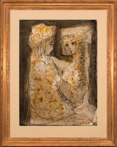 """Les Amoureux"" Framed Original Mixed Media Painting on Paper by Etienne Ret"