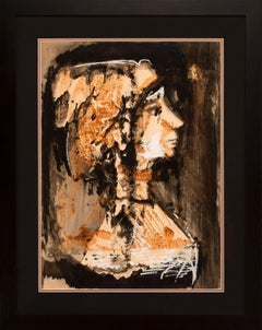 Framed Original Mixed Media Figurative Bust Painting on Paper by Etienne Ret