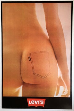 LEVI'S POSTER - PRINTED 1973 - BELGIUM - NUDITY - SEXUAL LIBERATION