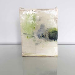 Ceramic Slab Vessel with Painted Glaze: Green A