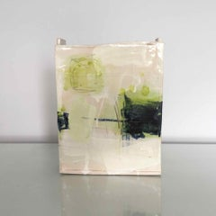 Ceramic Slab Vessel with Painted Glaze: Green B