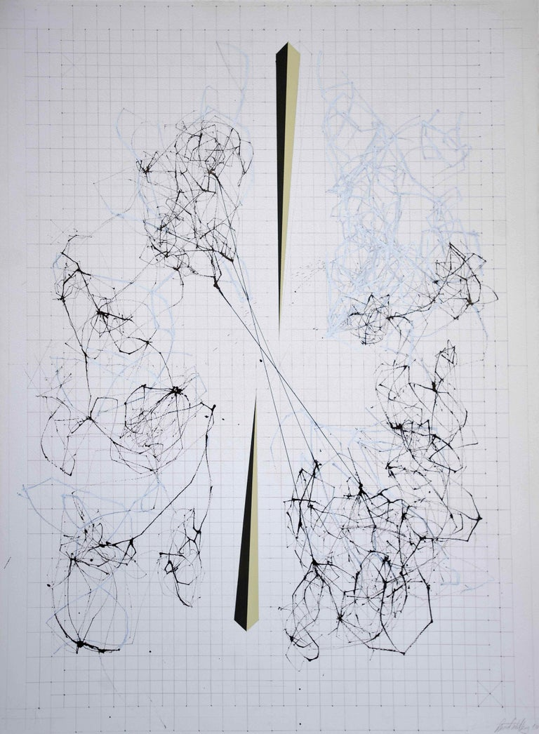 Splice by David Watkins, 2017, Ink, gouache and pencil on paper, 33 9/10 × 26 2/5 in; 86 × 67 cm  Mapping the internet gives it a form, even though it is simply a mass network of billions of interconnected computers. It's this amorphous and
