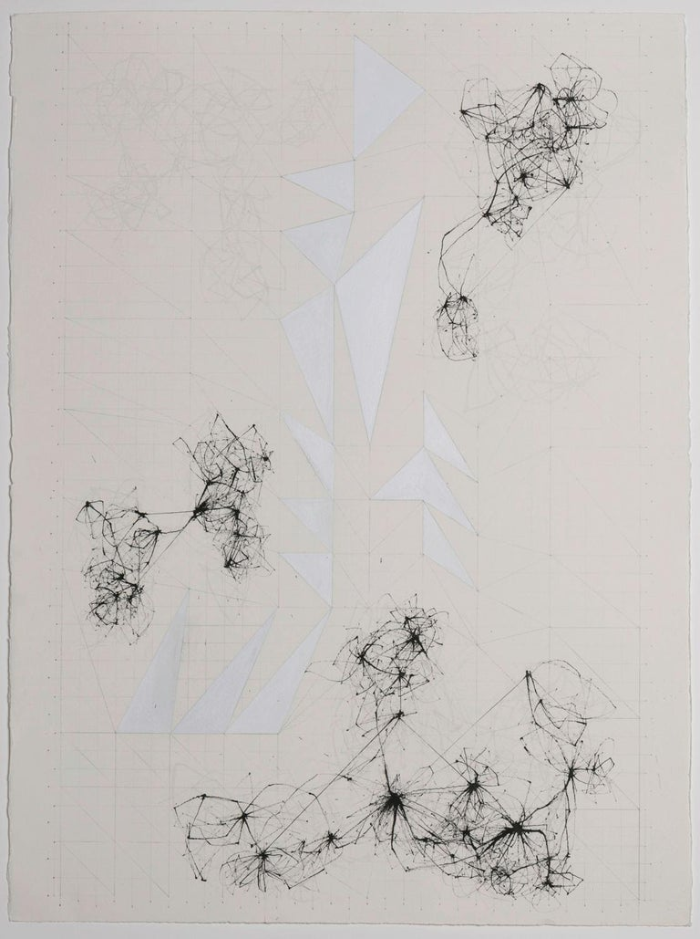 Blocked by David Watkins, 2017, Ink, gouache and pencil on paper, 33 9/10 × 26 2/5 in; 86 × 67 cm  This is one of David's unique and delicate drawings, shown in Projects at the London Art Fair in 2017, alongside a sculptural installation.  It is