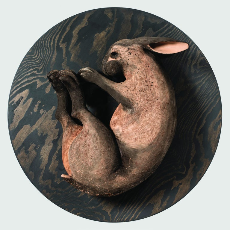 "Margit Brundin, Swedish, (b. 1981, Ängelholm, Sweden)  A collection of works by Swedish ceramic artist Margit Brundin, of human-scale hares created for this exhibition, ""A Place Behind the Oak Tree"", transforms our gallery. Installed amongst the"