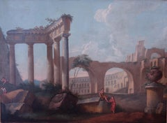 18th century Italian school, Pair of Landscapes with classical ruins