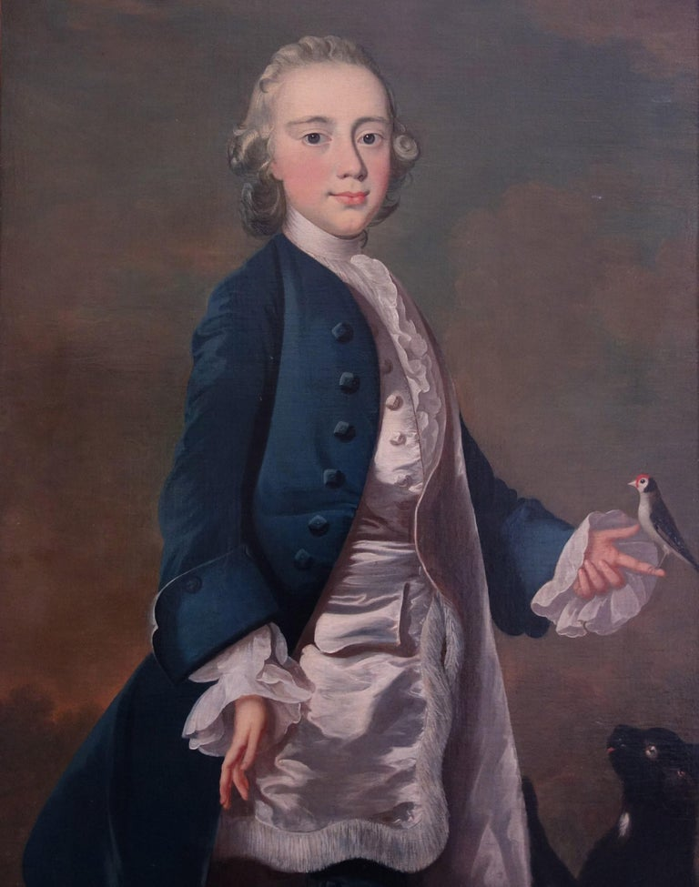 Attributed to Frans van der Mijn Animal Painting - English 18th century portrait painting of Master Wanley with pet bird and cat