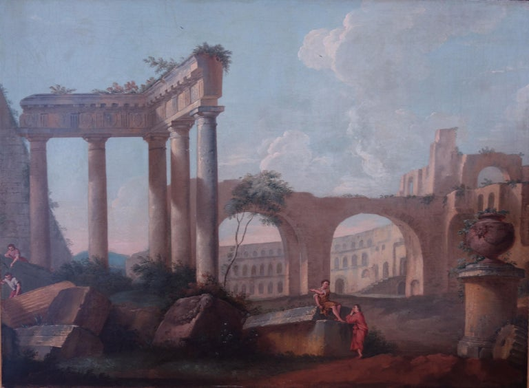18th century Italian school, Pair of Landscapes with classical ruins - Painting by 18th century Italian School