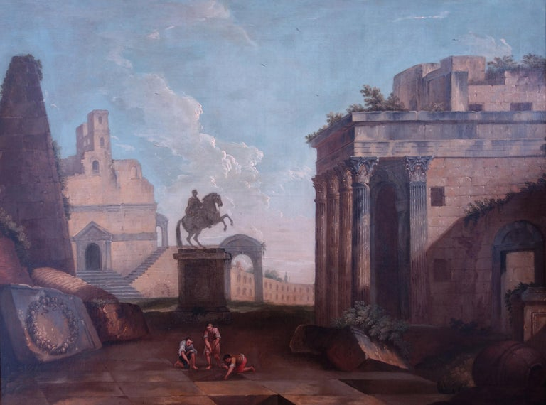 18th century Italian school, Pair of Landscapes with classical ruins - Old Masters Painting by 18th century Italian School