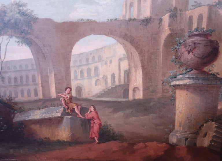 18th century Italian school, Pair of Landscapes with classical ruins - Brown Landscape Painting by 18th century Italian School